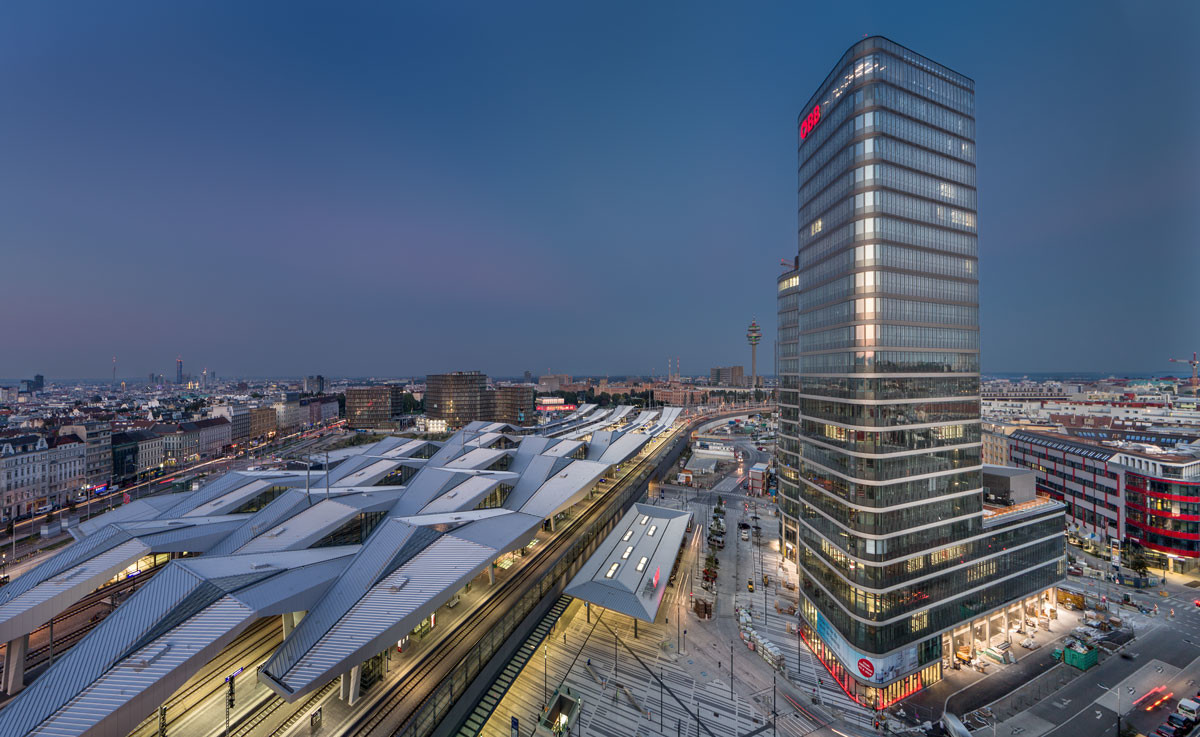 Referenzprojekt modernes Arbeiten | Aussenansicht ÖBB Konzernzentrale Wien